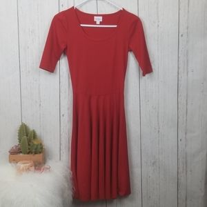 Solid Red Lularoe Dress size XXS